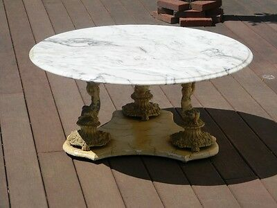 Vintage Italian Marble Round Coffee Table With Cherub Base