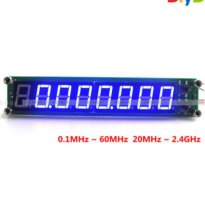 Blue RF Signal Frequency Counter 0.1-60MHz 20MHz ~ 2.4GHz Cymometer Tester