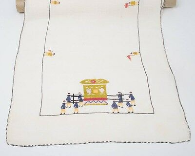 Delicate Vintage Linen Runner with Embroidered Chinese Design People Palanquin