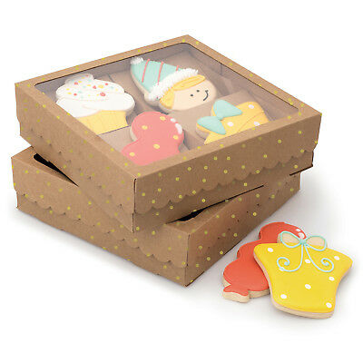 Sweet Sugarbelle Four Cookie Box-Kraft W/Gold Dots