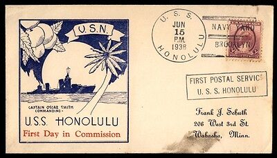Uss Honolulu First Day In Commission Ny Jun 15 1938 Slogan Cancel On Naval Cover
