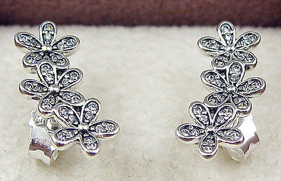 Solid 925 Silver Sterling DAZZLING DAISY CLUSTERS STUD EARRINGS FLORAL+ gift Box
