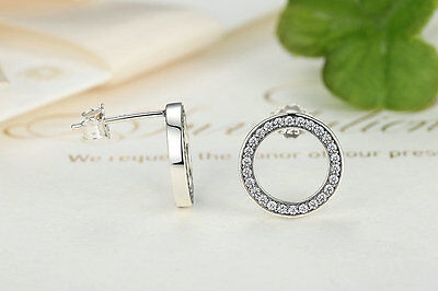Solid 925 Silver Sterling DAZZLING FOREVER ROUND RING STUD EARRINGS+ gift Box