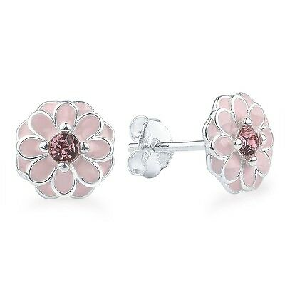 925 Silver STERLING PINK CHERRY BLOSSOM PRIMROSE FLORAL STUDS EARRINGS+ gift Box