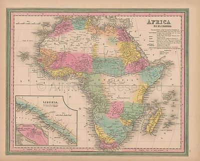 Africa Vintage Map Original African Decor Ancestry Gift Ideas Tanner 1845