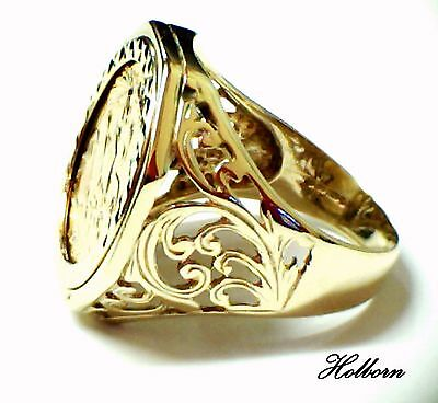 22ct Full Gold Sovereign Ring Size U, 9ct Octagonal Pierced Foliate Mount, 1982.
