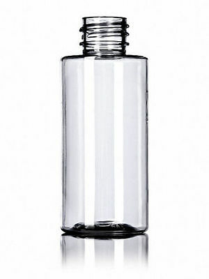 2 oz (60 ml) CLEAR Plastic Cylinder Round Bottles w/Caps (Lot of 100)