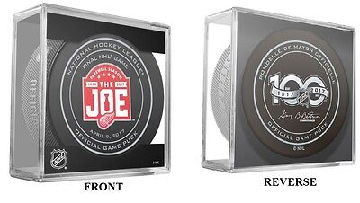"2016-2017 Red Wings April 9Th Final Game Puck Farewell Season W/cube ""the Joe"""