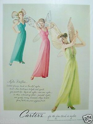 1949 CARTER's Grecian NIGHTGOWNS Wmn Fireflies Vintage LINGERIE Fashion Print Ad