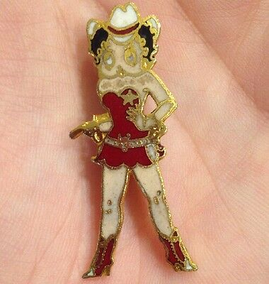 Vtg Betty Boop Western Cowgirl Comic Cartoon Strip Lapel Hat Tie Pin