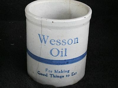 Vintage 1930's Wesson Oil Promotional Grease Stoneware Jar  Blue And Off White