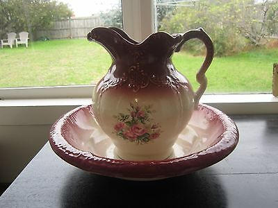 Vintage Wagner & Ryder Large Wash Bowl & Jug Set