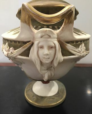 Early 20Th Century Art Nouveau Royal Dux Vase With Twin Faces