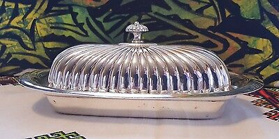 KENT SILVERSMITHS SILVERPLATE COVERED BUTTER DISH w/GLASS LINER TAUNTON, MA USA