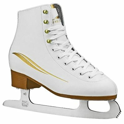 Lake Placid Cascade Womens Figure Ice Skate, White/Gold Accent, Size 5