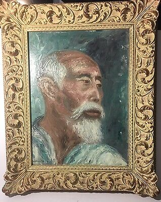 Very Fine Old Asian Asian Oil Painting On Canvas Of An Old Man 1957 Graham