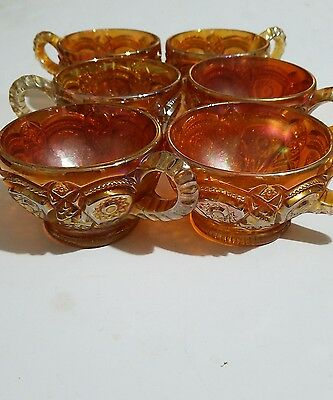 Antique Imperial Carnival Glass Fashion Marigold Punch Cups Set Of 6 Tea Coffee