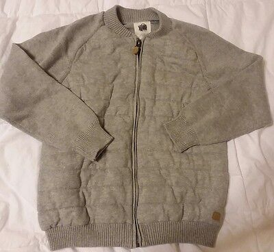 EUC ZARA Knitwear The Good Things Gray Quilted Zippered Sweater Kids Size 11-12