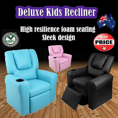 Deluxe Luxury PU Leather Kids Children Recliner Lounge Sofa Theater Armchair