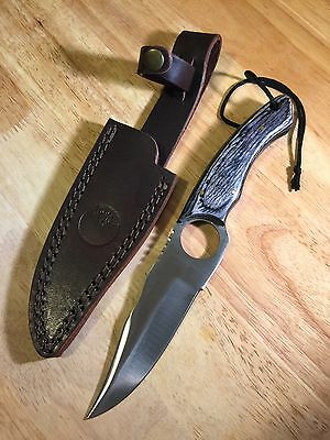 9in Hunting Gray Wood Handle Stainless Steel Skinning Blade Knife Leather Sheath