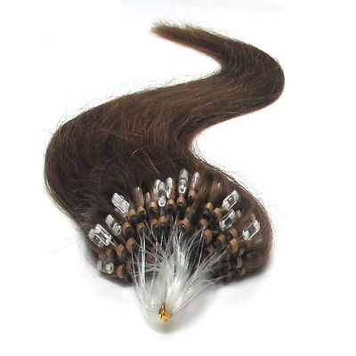 Hair Extension Easy Loop mini Perles Tipped 100s/pc 40g #06 Brown 16 pouces brun