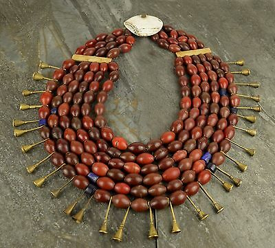 A Superb Very Large 19Th Century Naga Necklace Carnelian / Brass / Shell