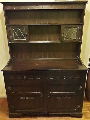 Antique Oak Welsh Dresser with detailed carving design