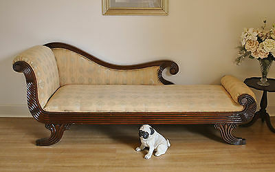 Antique Regency Style Carved Mahogany Cleopatra Chaise Lounge Settee Daybed Sofa