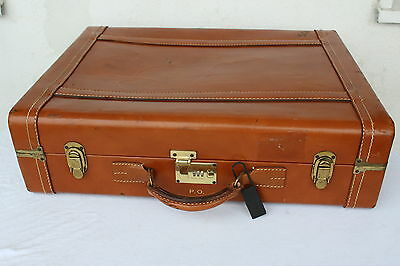 USA VINTAGE LEDER Koffer Reisekoffer Oldtimer Braun LEATHER Travel Bag Suitcase