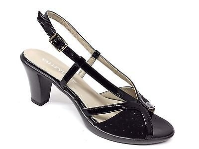 VALLEVERDE 45542 Sandali Donna Suede Sint+Pelle S Nero tacco cm 7 Made in Italy