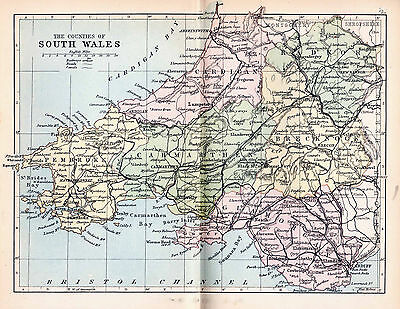 A3 Map of South Wales.( Monmouth not included it was part of England in 1880).
