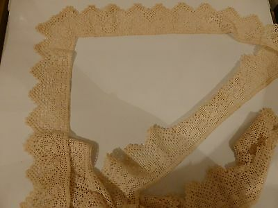 LACE TABLECLOTH EDGING HANDMADE EARLY 1900's SCOTLAND VINTAGE