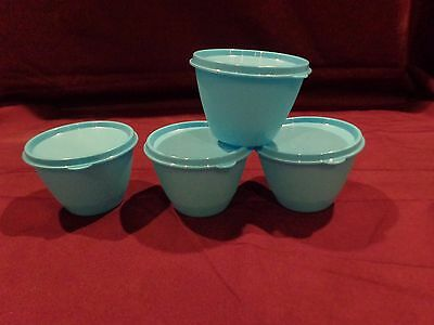 Tupperware ~ Set Of 4 ~ 14 Oz Refrigerator Bowls ~ Aqua Blue ~ New