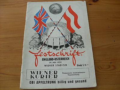 Austria v England-Lion of Vienna game programme dated 25-5-1952    (F370)