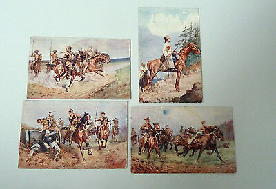 4 Military Postcards Defenders of the Empire by T Ivester Lloyd - sent in 1915