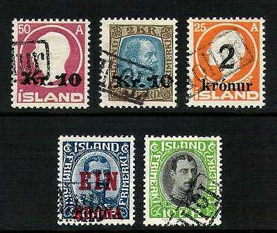 Iceland Lot of 5 Krona Values with Tollur Cancels #140, 142, 149, 150 & 187 F-VF