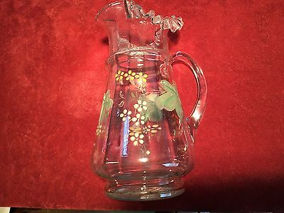 Antique Victorian Hand Blown and Painted Pitcher with Applied Handle