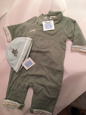 NWT Janie And Jack Toddler Baby Frogs Clothing Set & Matching Knit Hat 0-3 Mos.
