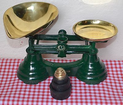 Librasco Glossy Green Alloy Kitchen Balance Scales 3 Cast Iron & 4 Brass Weights
