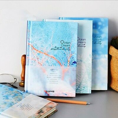 """Ocean Dream"" 1pc Study Journal Diary Grid Lined Blank Paper Notebook Hard Cover"