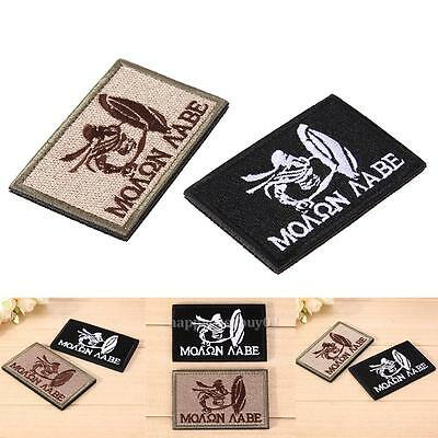 2PCS Embroidered MOLON LABE Tactical Sparta patch Morale Military Army Patch USA