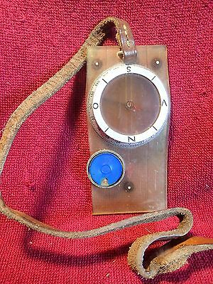 ANTIQUE VINTAGE ALUMINIUM + PLASTIC COMPASS SILVA with REAL LEATHER STRAP