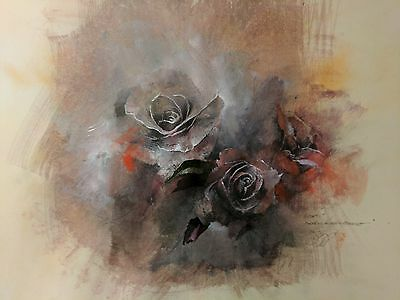 Fine Art Original Signed Drawing Gothic Spooky Roses by Artist Darryl Steele