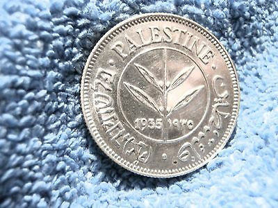 Palestine: 1935  Scarce Silver 50 Mils  About Uncirculated++++ To Uncirculated!!