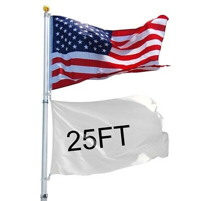 25 Ft Telescopic Aluminum Flagpole 3'x5' Free Flag Ball Pole Top Kit Fly 2 Flags