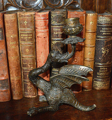 Antique French Bronze Gothic Dragon Winged Griffin Candle Holder