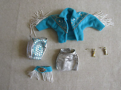 Vintage Western Stampin Barbie 1993  Partial Outfit & earrings USED READ
