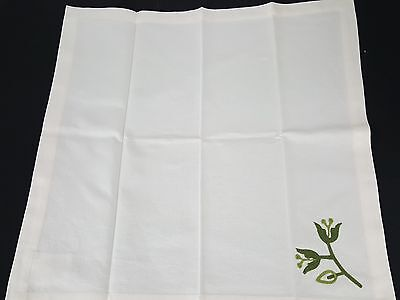 Pottery Barn Set 6 White Green Embroidered Floral Dinner Square Napkins