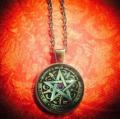 Wicca Gothic Steampunk Pentagram Cabochon Necklace