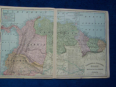 Original 1901 Crams Maps of Venezuela, Columbia, Ecuador and Guiana, & Brazil.
